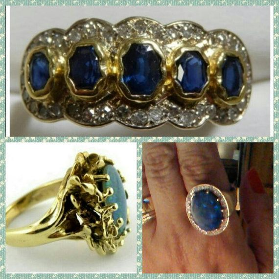 Statement Rings, Large Size Rings, Black Opal Ring, Sapphires and Diamonds Ring