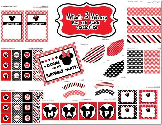 Printable Party Shop party set   Mickey Minnie Mouse party ideas