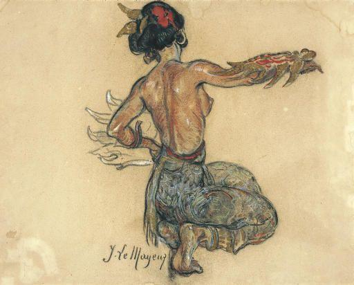 Adrien Jean Le Mayeur de Merprès - Ni Nyoman Pollok dancing