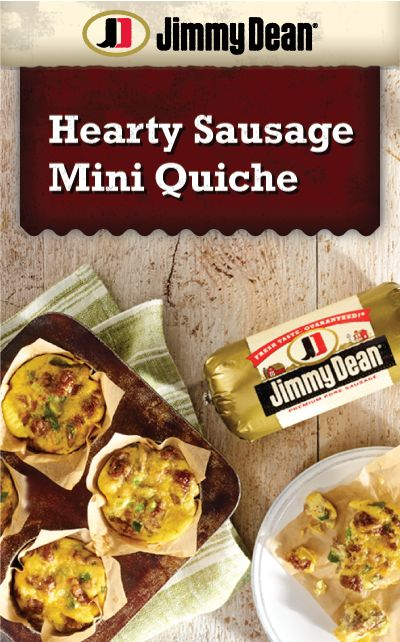 Bring the whole family to the breakfast table with this hearty mini quiche #recipe! Made with savory Jimmy Dean Pork Sausage, veggies and cheddar cheese.