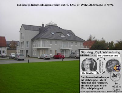 Zentrum für Naturheilkunde. Es handelt sich um eine 13 Jahre junge Privatklinik mit rd. 1.150 m² Wohn-/Nutzfläche ( 3 Geschosse mit ~300 m² und dem DG mit rd. 250 m² privater Wohnfläche der Eigentümer). VB 1.700,- € zuzügl. 3,57% Maklerprovision.