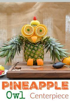"Pineapple Owl Fruit Sculpture- take melon craving to a whole new level with this cute fruit animal owl. This fruit carving idea only takes 15 minutes and is super easy, without much actual ""carving"" at all. Plus, pineapple recipes so your pineapple owl doesn't go to waste. www.savoryexperiments.com"