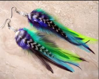 feather earrings colorful uk