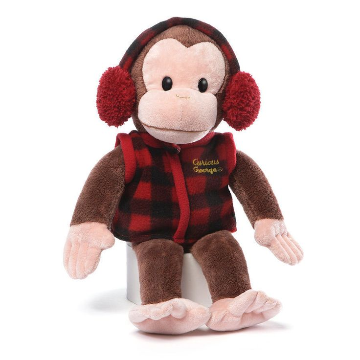 """New 2015 Curious George in Winter West and Ear muffs 14"""" Plush # 4048377 Gund"""