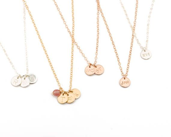 Gold Initial Necklace Gold Personalized Disc Necklace