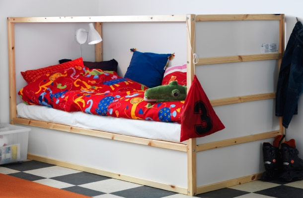 Kura Reversible Bed Shown As A Low Bed With Colourful