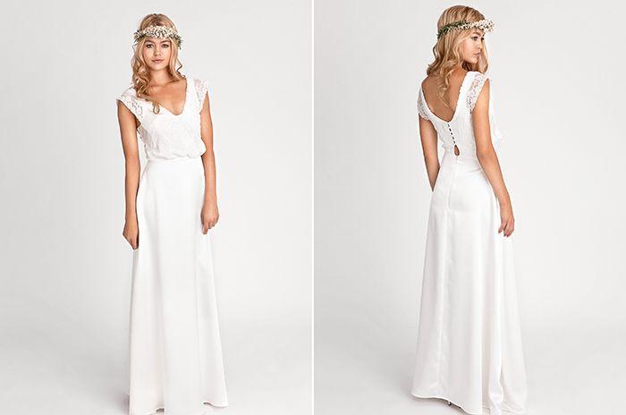 Neue Brautmode 2016 von Soeur Coeur | Friedatheres.com CELINE Kleid im Bohemian-Stil. Oberteil mit weichem V-Ausschnitt, Flügelärmchen mit halbtransparenter Spitze und überzogenen Knöpfen im Rückenbereich. Komplett mit Spitze versehen und gefüttert.
