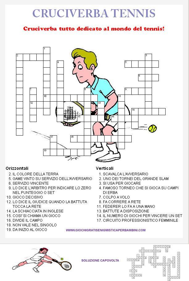 Cruciverba sul gioco del tennis giochi enigmistici for Cruciverba facili per bambini