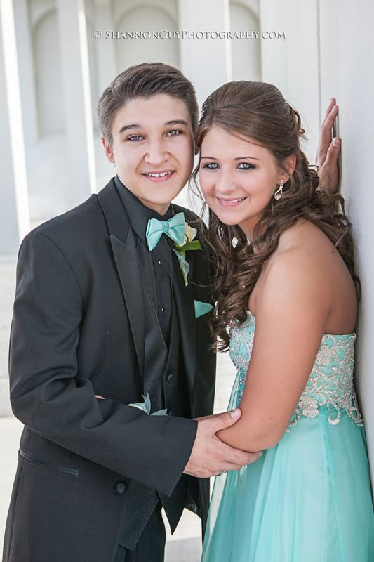 Tiffany Blue Prom Dress And Matching Accents On Black Tux