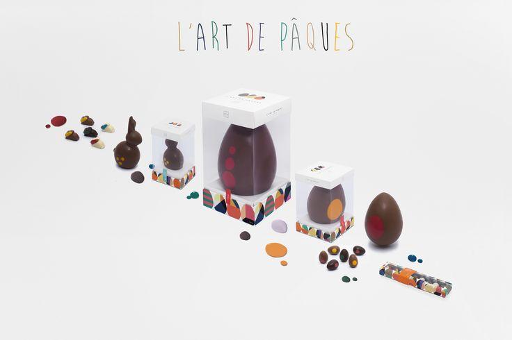 L´art de Pâques se vive en La Fête. Sorpréndete con nuestros diez deliciosos huevos de chocolate, en envoltorios que hablan de color, alegría y arte.