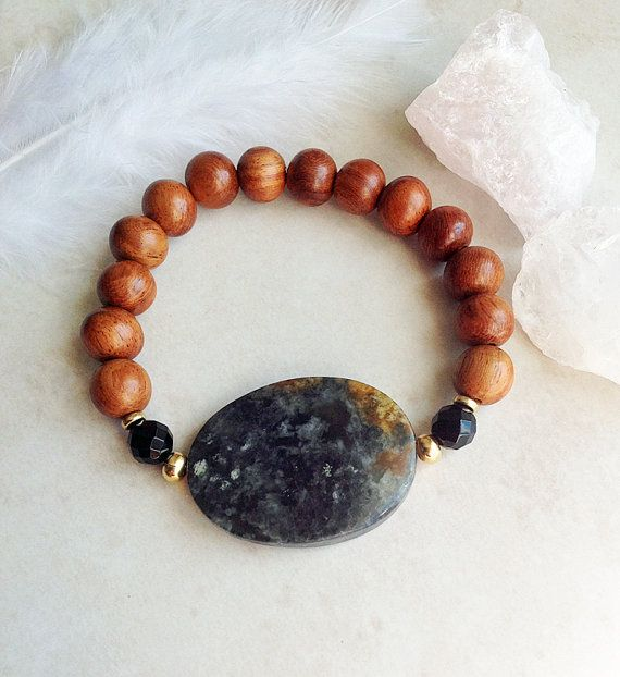 Nurturing Wrist Mala - Wood, Jasper and Onyx Bracelet by InnerFireJewelry $20 - Click now to save 10% with coupon code PIN10 #innerfirejewelry #tribal #jasper