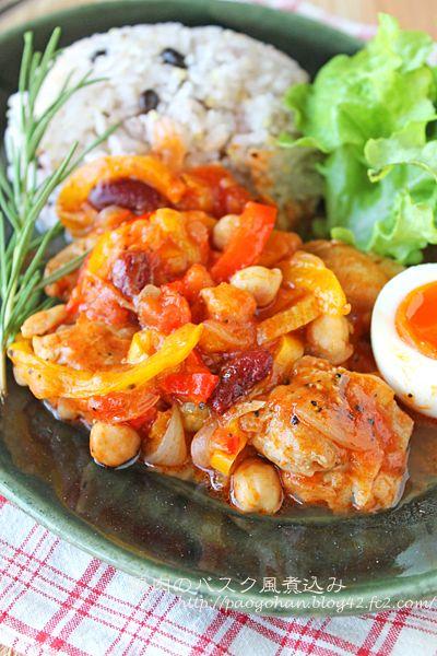 鶏もも肉のバスク風トマト煮込み☆新玉ねぎとパプリカがとろとろ甘〜い!