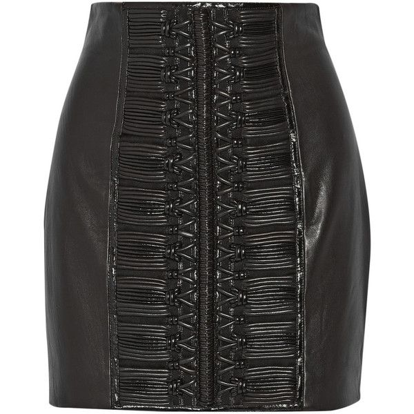 Balmain Embroidered leather mini skirt ($1,460) ❤ liked on Polyvore featuring skirts, mini skirts, hameet, saias, black, black stretch skirt, black stretch mini skirt, black miniskirt, short skirts and leather miniskirt