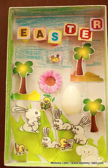 Easter shadow box using shoe box lids