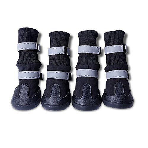 Aus der Kategorie Pfotenschutz  gibt es, zum Preis von EUR 14,99  <b>Beschreibung</b><br />Das Element ist ein Satz von 4ST Haustier Hund Welpe lässig Stiefel Schneeschuhe, die hauptsächlich aus weichem PU, Terylen und dicken Lint mit Anti-Rutsch-Gummi-Schuh-soles。<br /><br /><b>Funktionen</b><br />-Farbe: hauptsächlich schwarz.<br />-Material: Soft PU, Terylen und dicken Lint.<br />-Größe: L.<br />-Geeignet für mittlere und große Hunde.<br />-Als Hund Wandern Stiefel, Hund Laufschuhe oder…