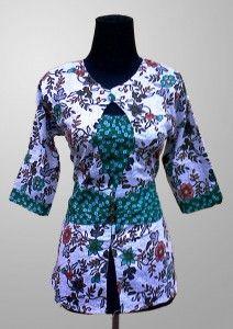 Baju Batik Wanita Kerja Motif Bunga Warna Hijau Kode KM 142 SMS ke 082134923704
