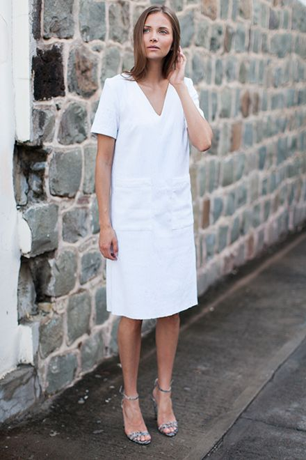Viet Dress - White Brocade / Thin Strap Heel - Cobra Embossed from Emerson Fry
