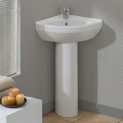 Small Corner Pedestal Sink : Corner Pedestal Sink on Pinterest Sinks for small bathrooms, Small ...