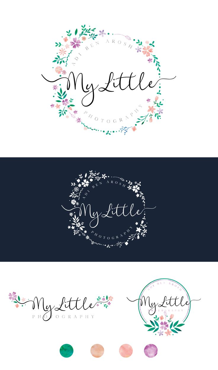 Photography Logo Design and Mini Branding Kit, Watercolor, Custom made