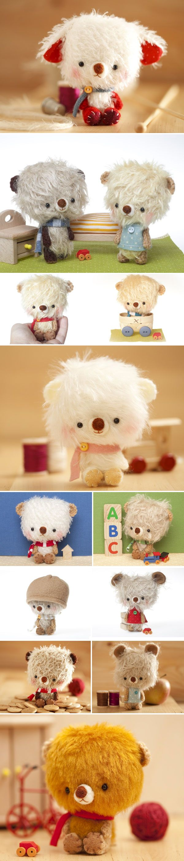 Handmade big headed teddy bears