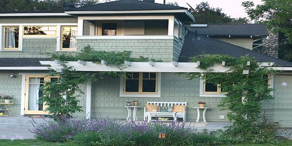 Exterior House Color Combination with Cool Green and Butter Yellow also Pure White