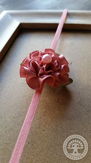 Dusty Rose Ribbon Flower Elastic Headband by Corinne Jade