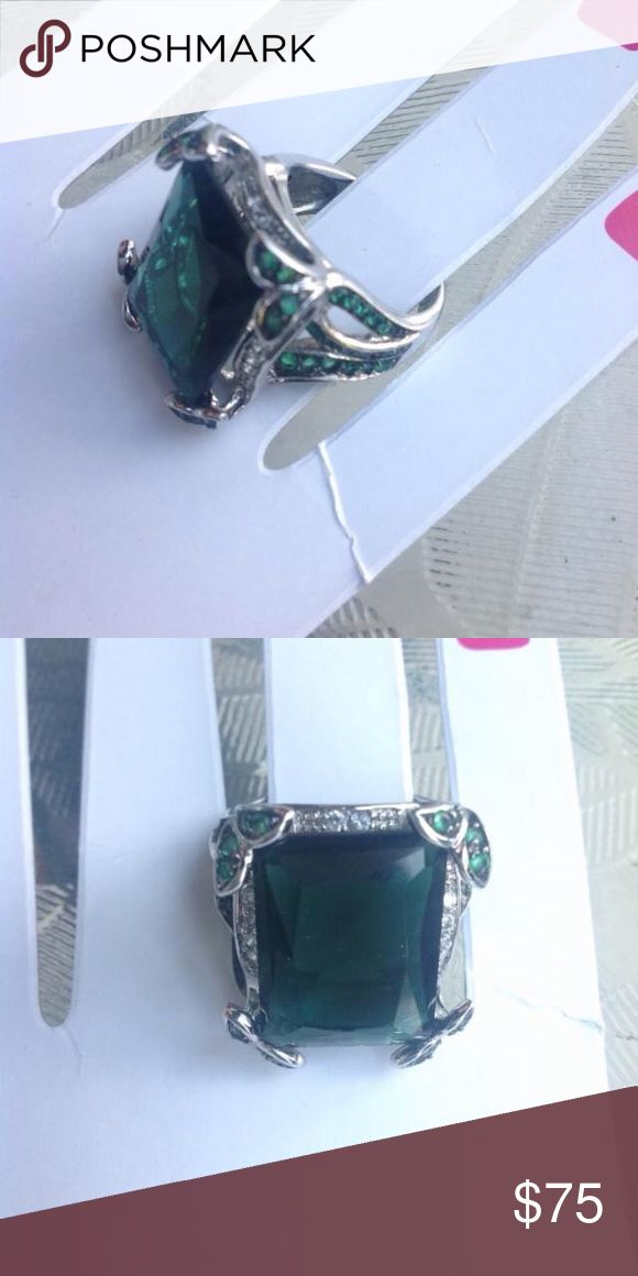 Charles Winston ring Purchased from shop nbc large and in charge statement making piece Charles Winston green emerald cut ring in genuine sterling silver with amazing butterfly detail at sides great Preowned condition all Stone's are in tact - note band shows normal wear size 9 Charles winston Jewelry Rings