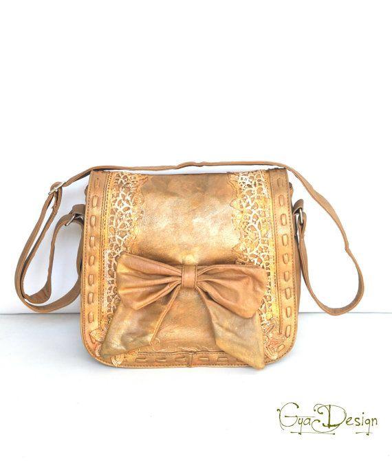 Messenger painted bag bag with bow crossbody patina от GyaDesign