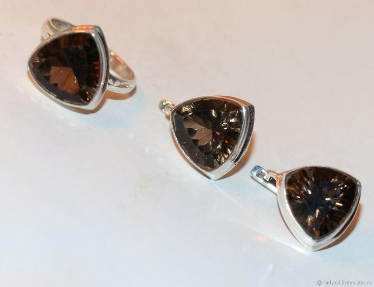 Серьги кольцо раухтопаз-дымчатый хрусталь – купить в интернет-магазине на Ярмарке Мастеров с доставкой