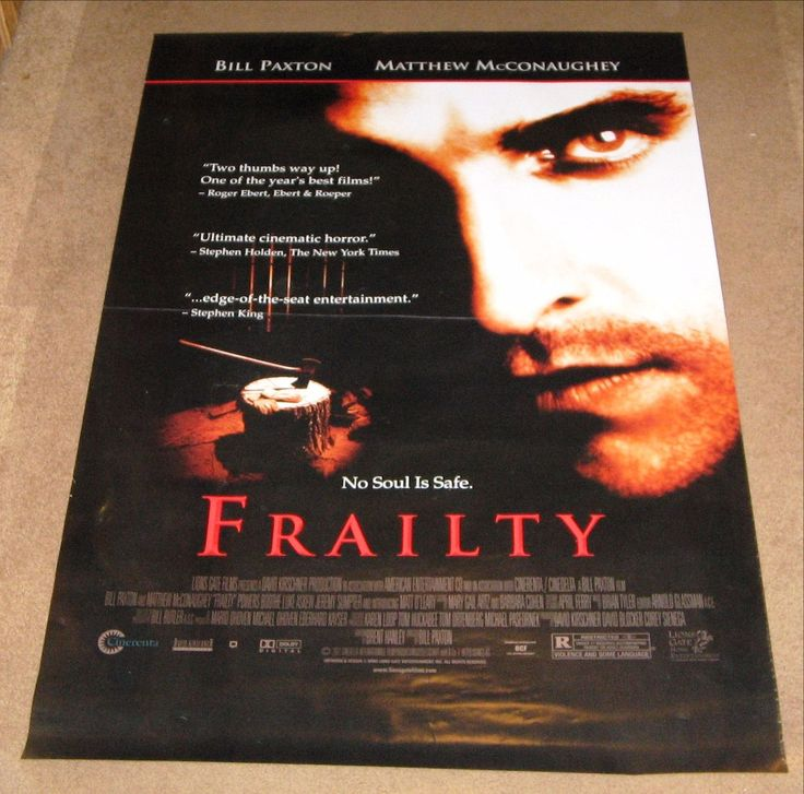 Frailty 2001 Movie Poster 27x40 Used Bill Paxton, Rebecca Tilney, John Paxton, Matt O'Leary, Matthew McConaughey, Greg Serano, Powers Boothe, Jeremy Sumpter, Luke Askew, Missy Crider, Lance E Nichols, Dave Power, Gwen McGee, Cynthia Ettinger