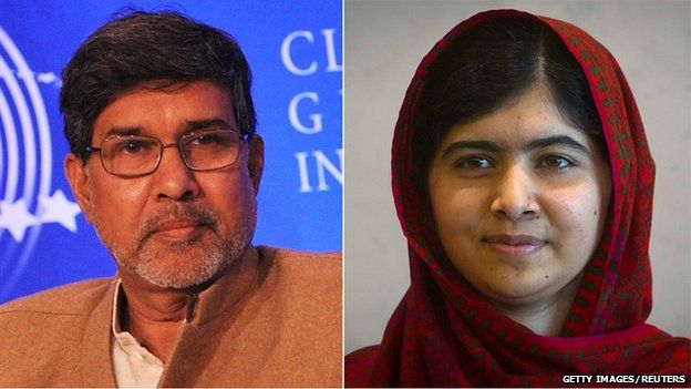 Kailash Satyarthi and Malala Yousafzai 2014 Winners of the Nobel Peace Prize for their work. Malala Yousafzai is the youngest person to receive the prize.