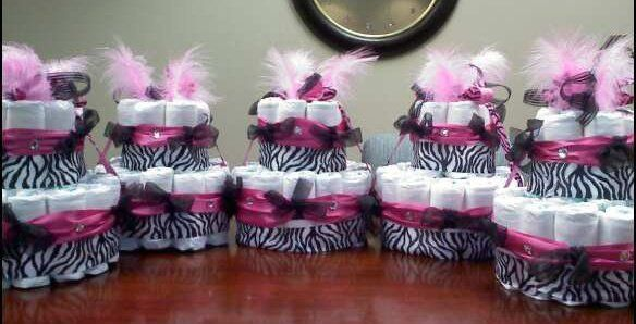 Trendy Pink/Zebra Centerpieces made of Diapers for Baby Shower