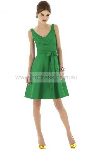 Sleeveless Zipper V-neck Short Satin Cocktail Dresses b140592--Hodress