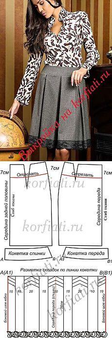 Falda plisada con basque - patrón de A. Korfiati
