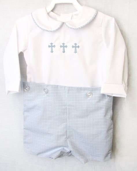 Baby boy clothes in a boys baby button-on outfit is one cute baby boy baby baptism outfit item from our kid s boutique store. Our childrens shop offers baby boy clothes for a boy christening outfit and boys baptism outfit for twin babies in many styles. Blue Plaid outfit is 100% cotton with poly/cotton shirt. it comes with or without the crosses. Baby Boy Baptism Outfit | Baby Boy Clothes | Boy Christening Outfit | Boys Baptism Outfit |Baby Boy Christening Outfit | Baptism Hat is sol...