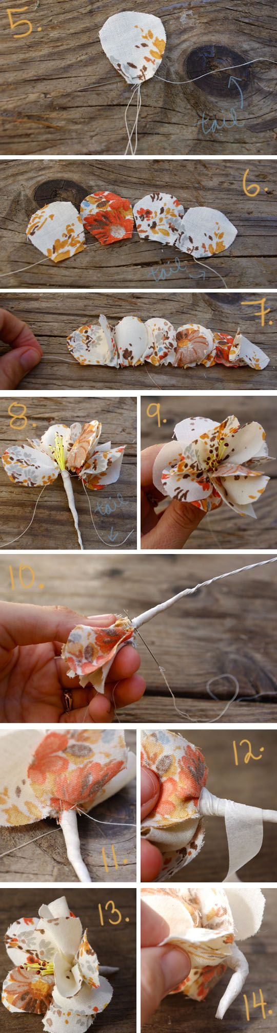 fabric flower boutonniere/corsage---http://www.nothingnewtreasures.com/2012/10/09/fabric-corsages-and-boutonniere/