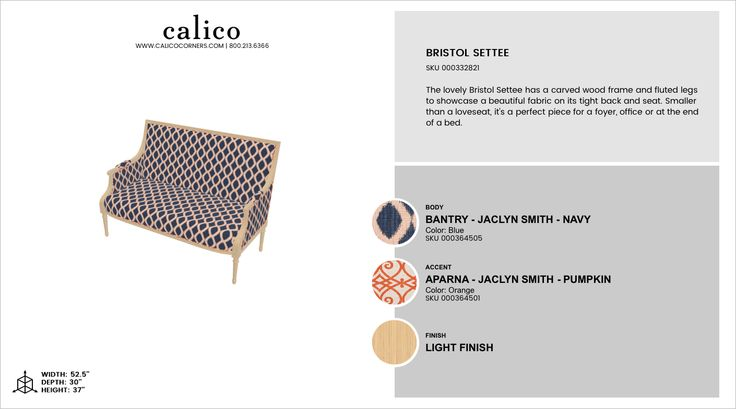Bristol Settee in Bantry - Jaclyn Smith - Navy with an accent of Aparna - Jaclyn Smith - Pumpkin in Light Finish