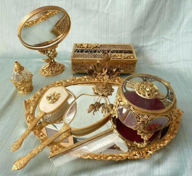 Dogwood Bird Gold Plated Gilt Ormolu 9 Dresser Vanity Set Vintage