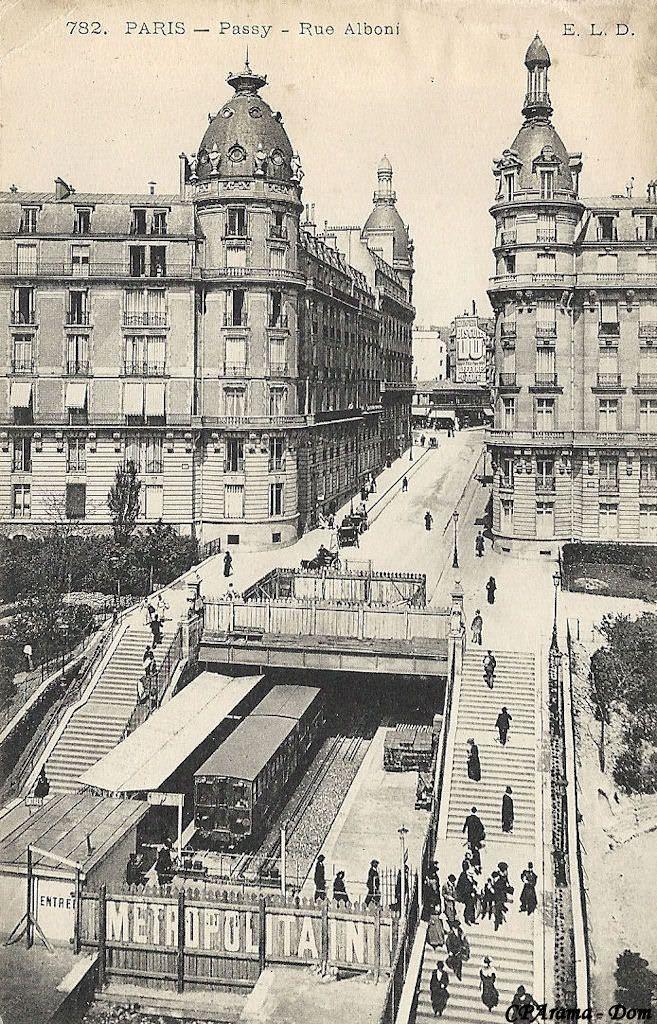 """Passy (Station) 3 DC 57 - Métropolitain - Métro Paris - Ligne 6 - Ligne 2 Sud - Station Passy - Paris - Passy - Rue Alboni (E.L.D. 782) - Une variante de la carte précédente, un peu plus """"récente"""" puisque le quai de gauche est maintenant couvert ..."""
