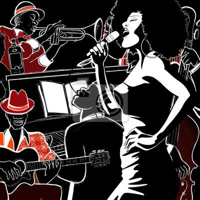 Wall Mural Jazz band with double-bass trumpet piano