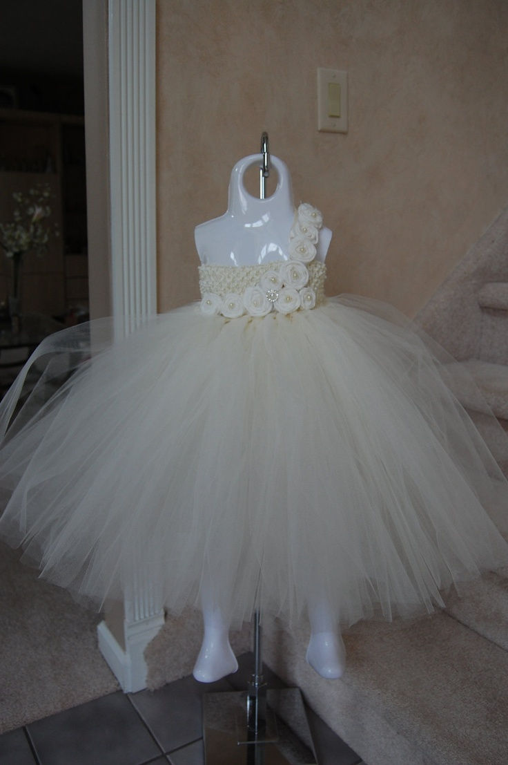 Iz2 dress mail order_bu 0 - Couture Ivory Vintage Tulle Dress With Ivory Handrolled Rosettes And Button Embellishments