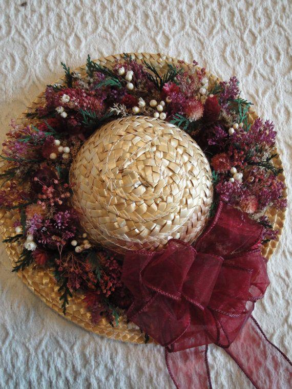 dried flower straw hat floral arrangement wreath - Floral Design Ideas