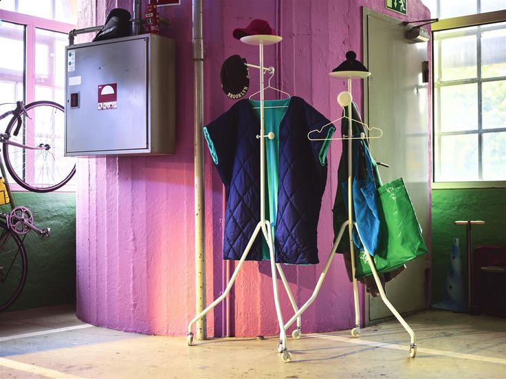 """COAT IT. HAT IT. JACKET IT. Valet stand from IKEA PS 2017—LIVE IT. """"When I wake up in the morning, I want my clothes and all the other things I need to be in the same place. It makes the morning more enjoyable and less stressful. The IKEA PS 2017 Valet Stand has an almost human form – with one arm stretched out to hold your clothes and a dish where you can put your phone and wallet."""" — Designer Gustav Carlberg #Liveit #IKEAPS2017 #IKEAcollections"""