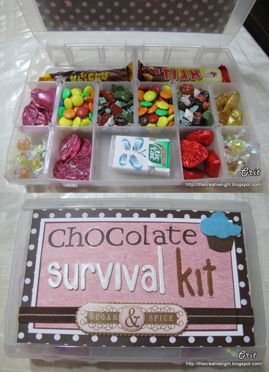 chocolate survival kit!!! THIS is a great idea.  Make several at a time with partial bags of candy in each one.  Just use a plastic divided storage container
