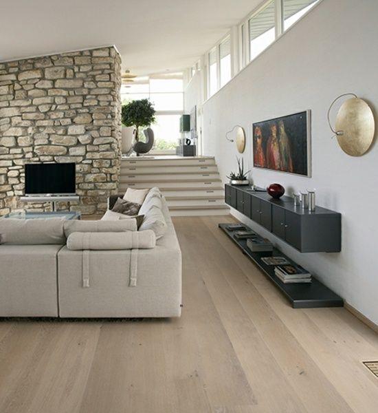Laminat wohnzimmer modern  Bodenbelag Wohnzimmer-Dinesen Steinwand Ecksofa   floor ...