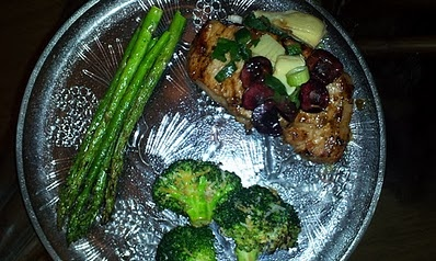 Grilled Pork Chops with Cherry Salsa and Vegetables