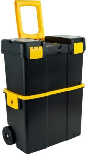 Stackable Mobile Tool Box Multi Compartment Wheels Garage Storage Organizer #ToolBox #Stackable #Mobile #MultiCompartment #Garage #Organizer #Portable