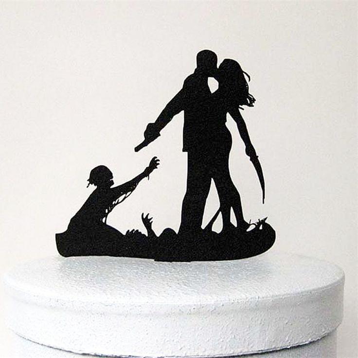 Bahahahahaha just cute  Wedding Cake Topper (Scary Horror Halloween Theme /Funny Humorous Creative)