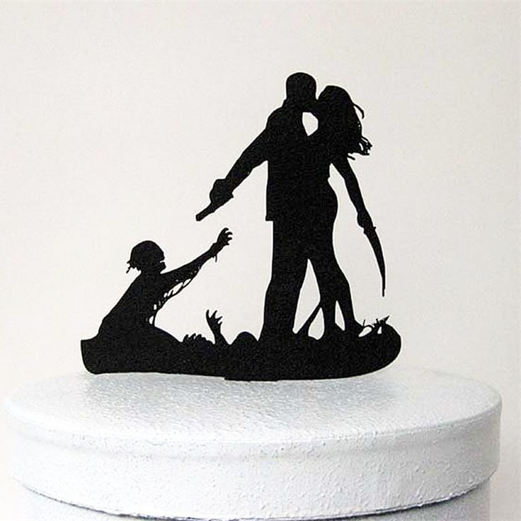 Bahahahahaha just cute  Wedding Cake Topper (Scary Horror Halloween Theme /Funny Humorous Creative)