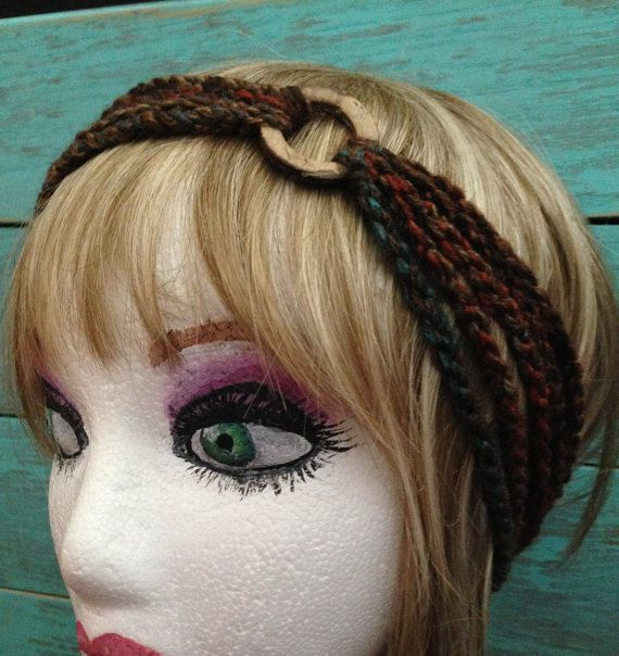 Crochet 5 strand headband with wooden circle by StarfawnClothing